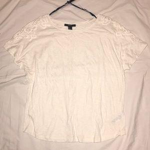 Lace shoulder trim t-shirt cream slub jersey